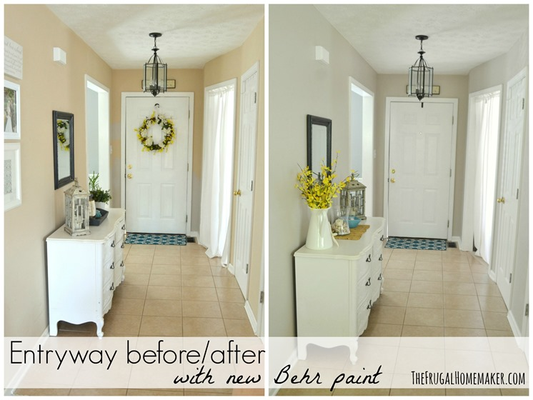 Entryway before and after (beige to GREIGE with Behr paint!)