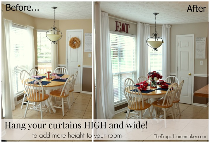 High Ceiling Curtains no-sew, inexpensive, long curtains made from sheets!