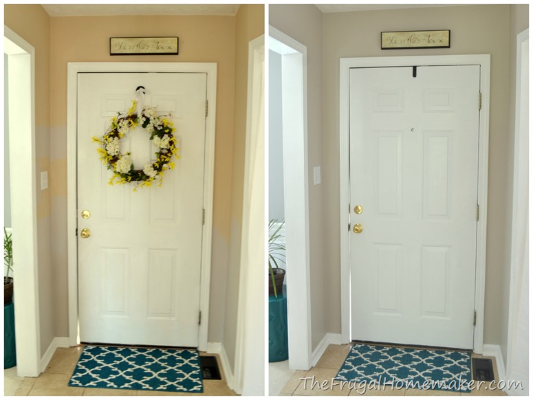entryway before and after beige to greige with behr paint. Black Bedroom Furniture Sets. Home Design Ideas