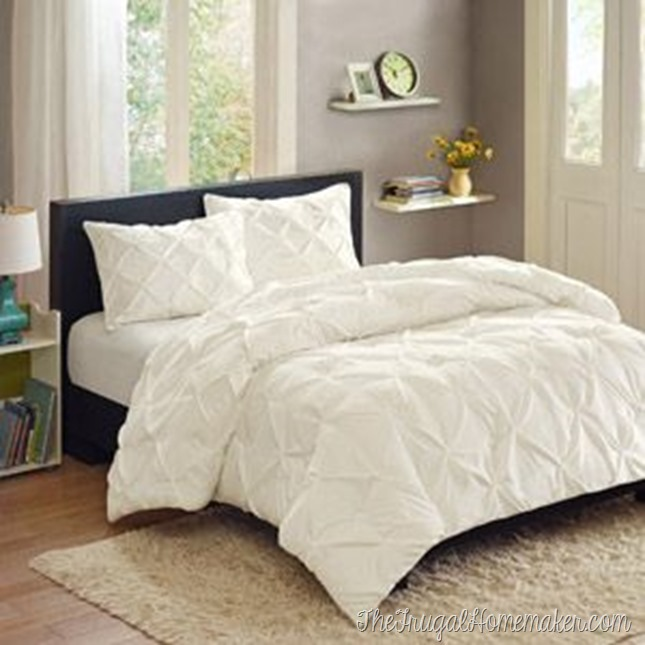 Better Homes and Gardens white pintuck comforter set from Walmart