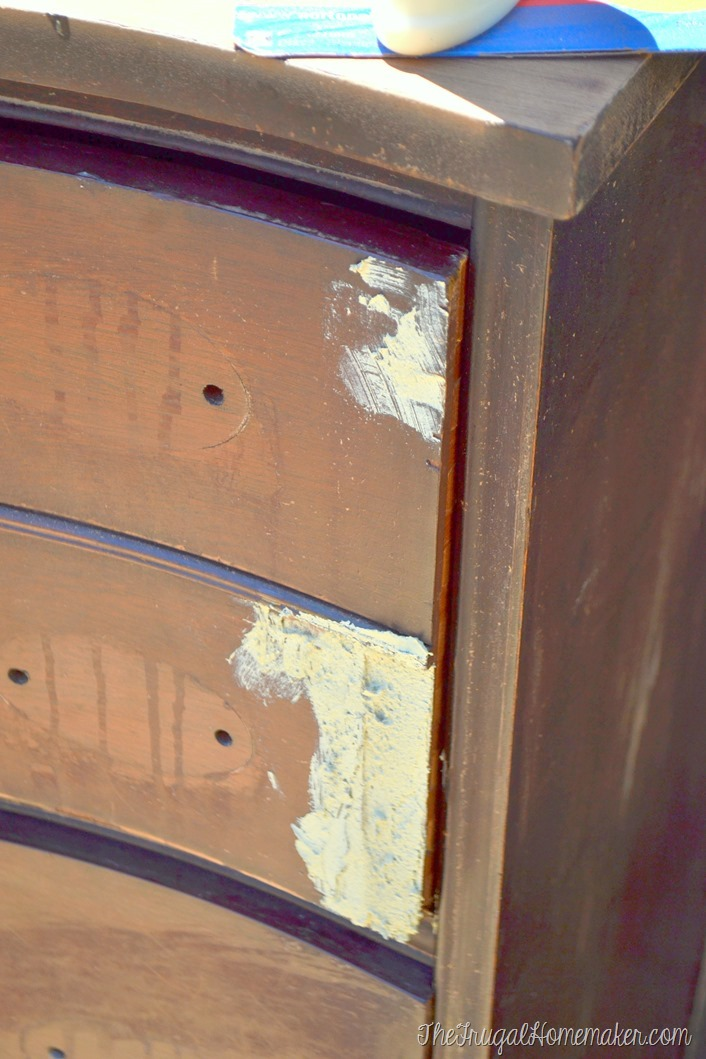 Dresser Makeover How To Fix Chipped Veneer Deal With Wood Stain Bleeding Through Paint