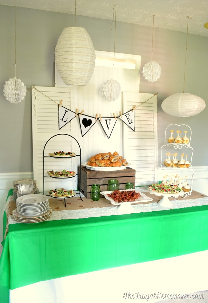Modern Vintage Green + Gold Bridal Shower
