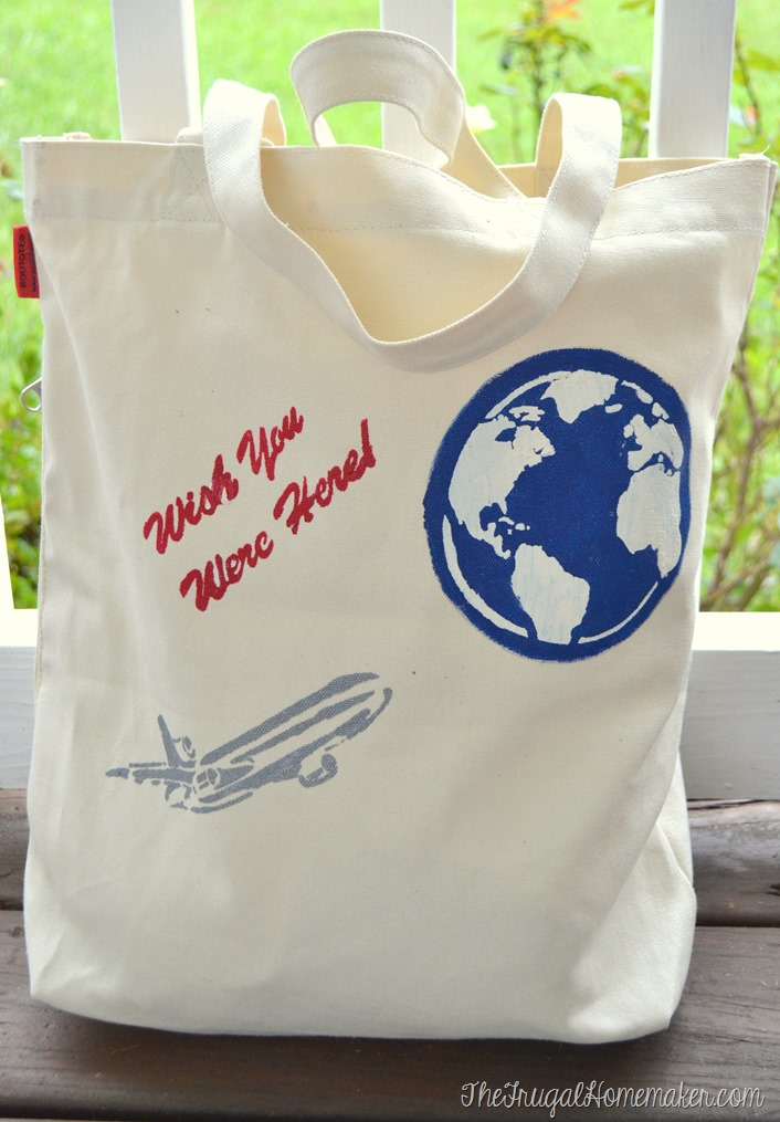 Travel Tote Bag with FolkArt Stencil 1