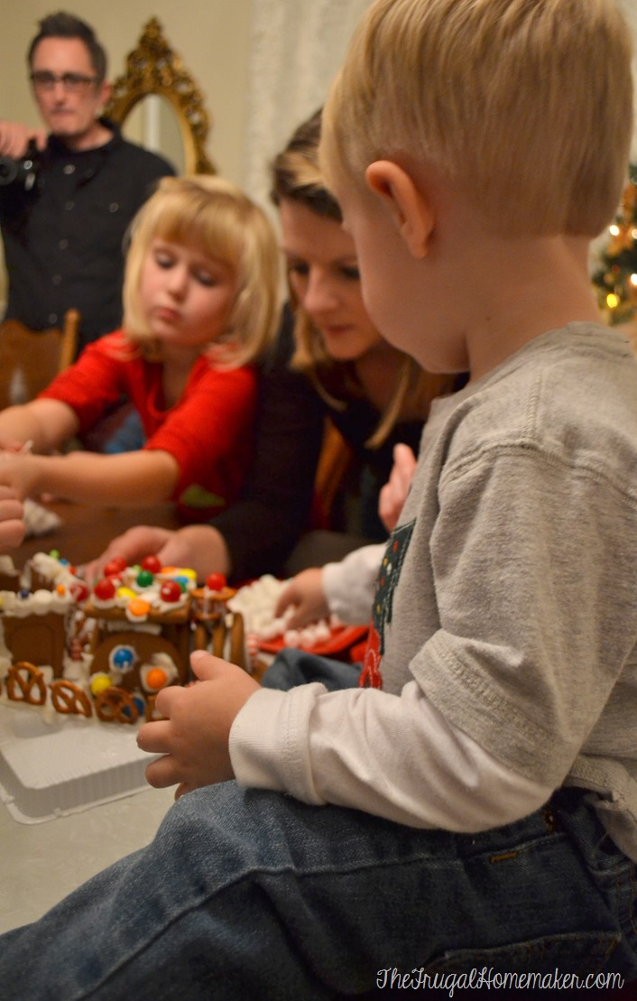 decorating Christmas gingerbread train