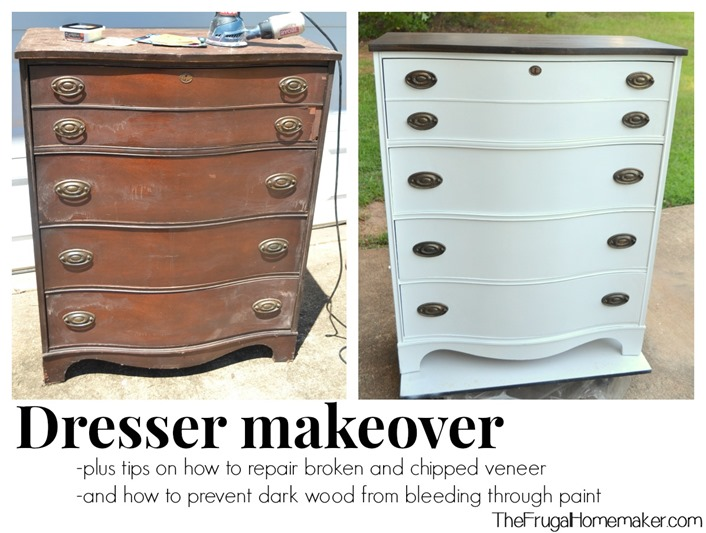 Dresser makeover (how to fix chipped veneer + deal with wood stain bleeding  through paint)