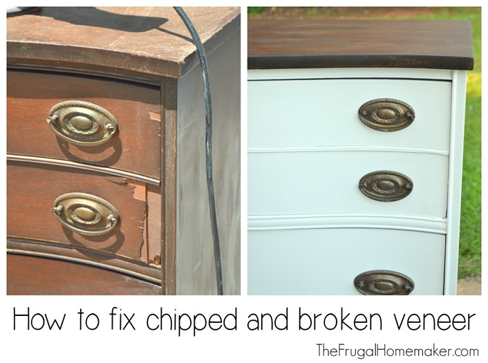 Dresser makeover  how to fix chipped veneer   deal with wood stain bleeding  through paint. Dresser makeover  how to fix chipped veneer   deal with wood stain