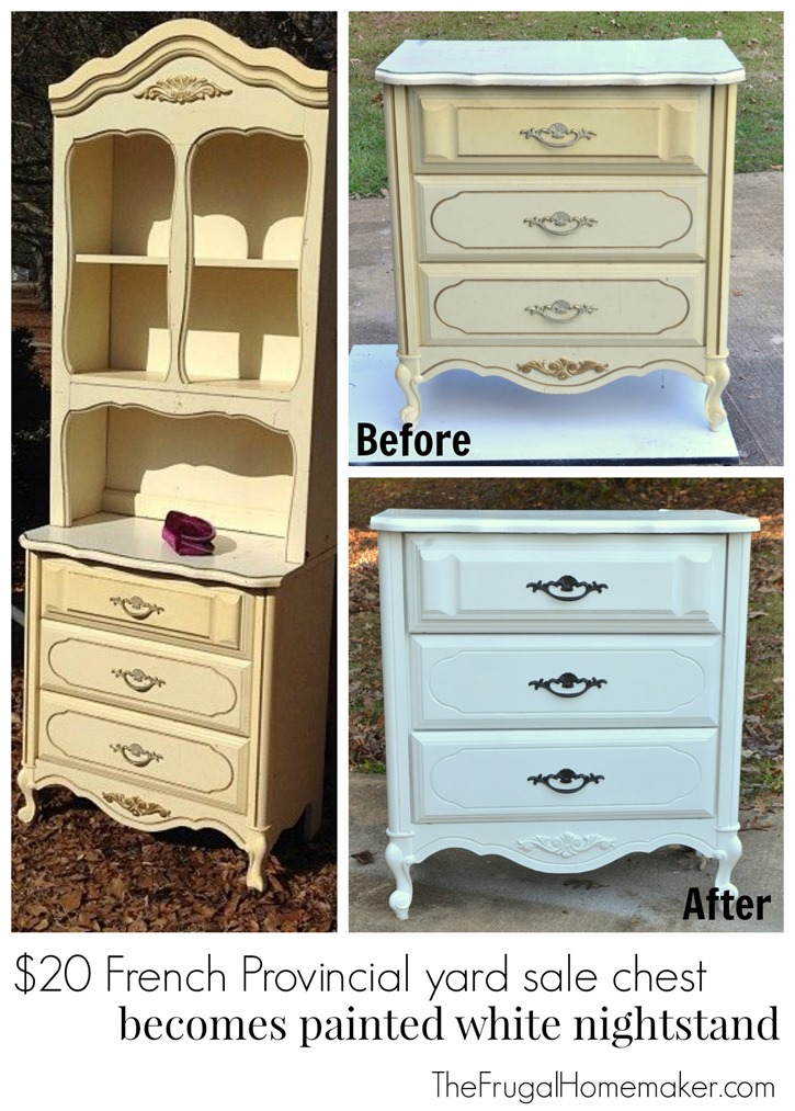 $20 French Provincial yard sale chest becomes painted white nightstand