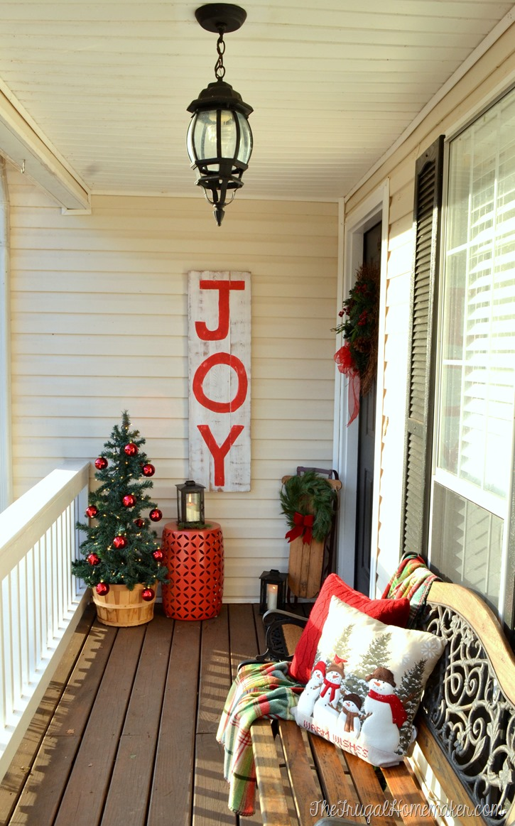 Christmas front porch with JOY sign