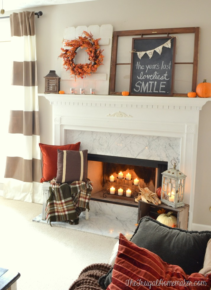Fall mantel in living room