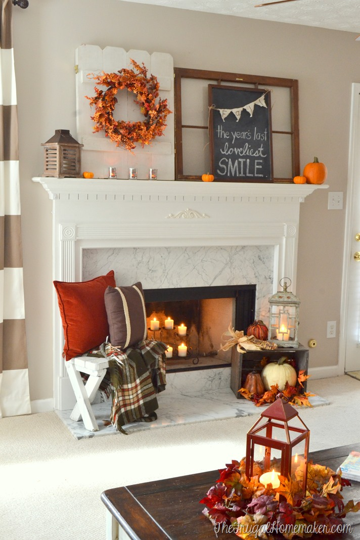Fall mantel lit by candlelight
