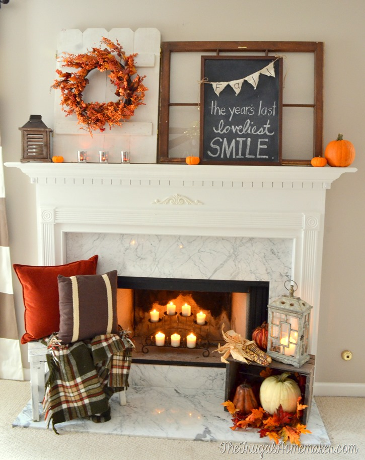 Fall mantel with chalkboard