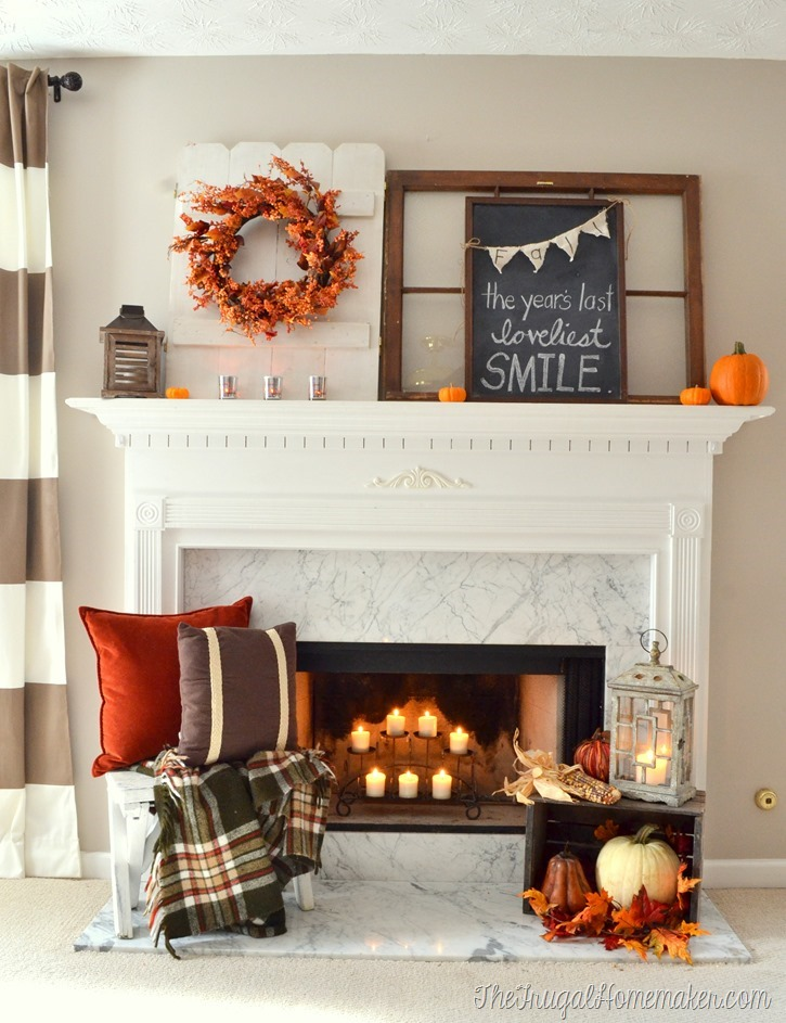 Fall mantel with thrited and vintage finds