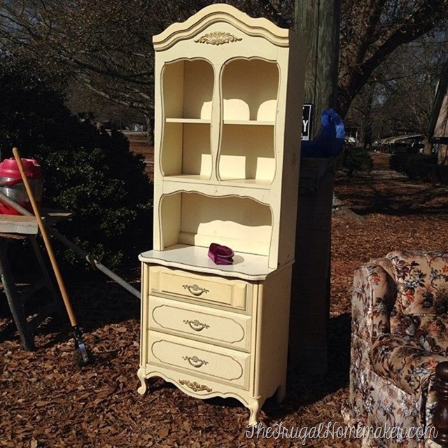 French provincial hutch and chest found at yard sale
