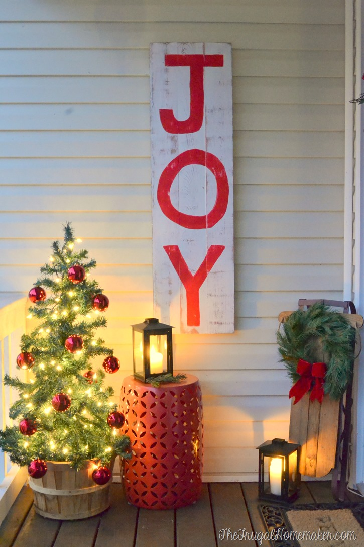 JOY sign on Christmas porch