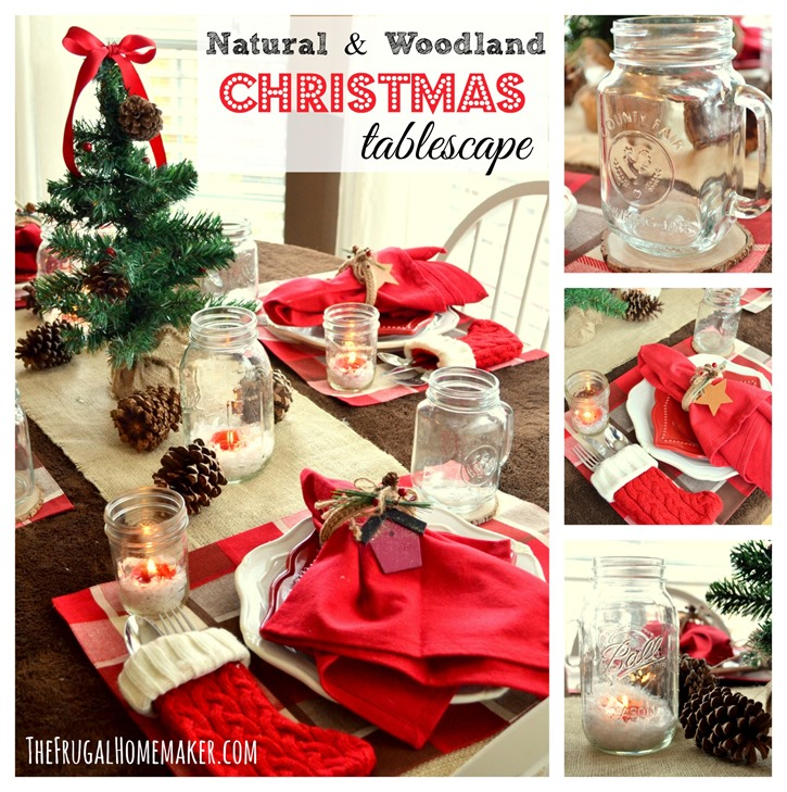 natural woodland christmas tablecape