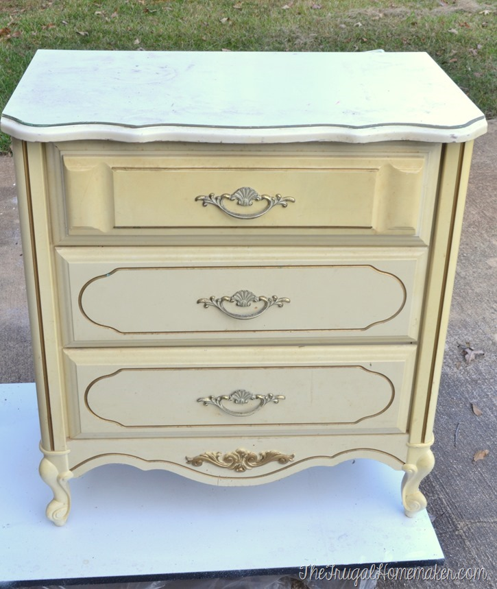 Painted chest turned nightstand - before