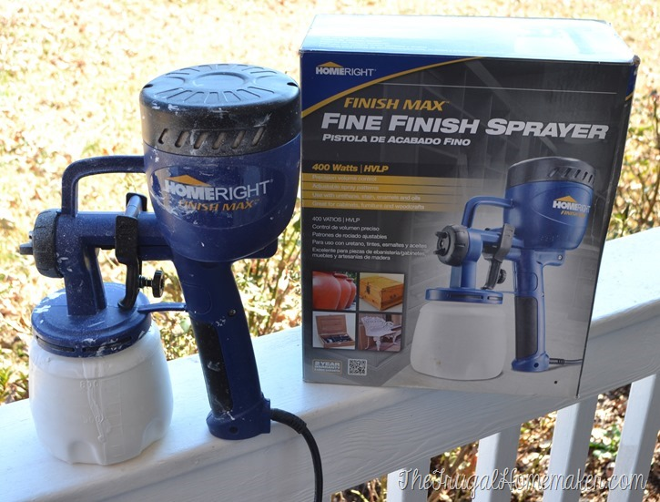 Using Finish Max Fine Finish sprayer to spray furniture