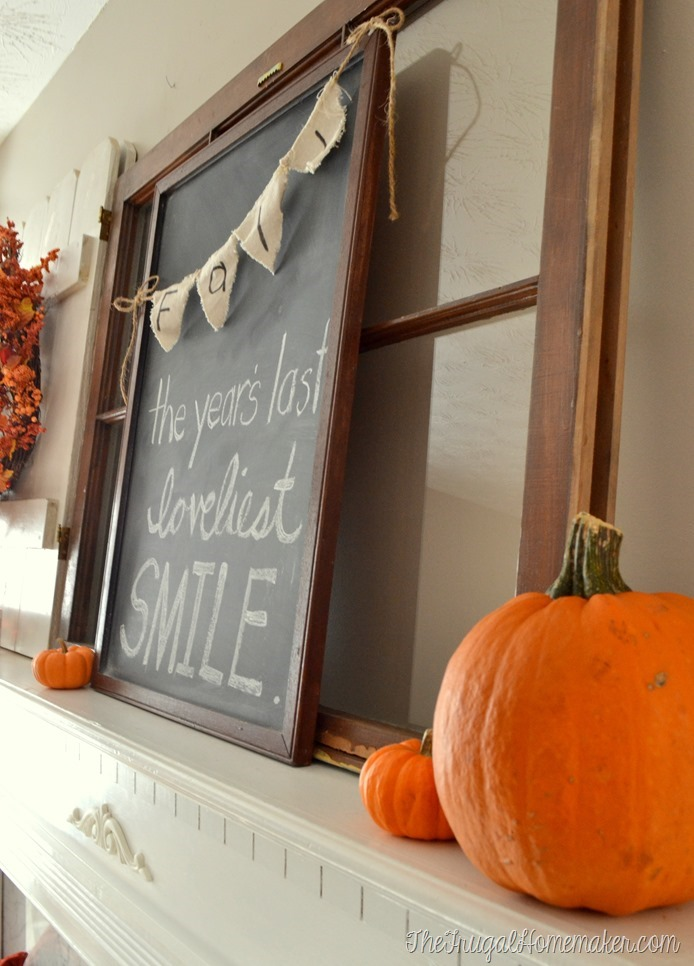 closeup of fall mantel and chalkboard