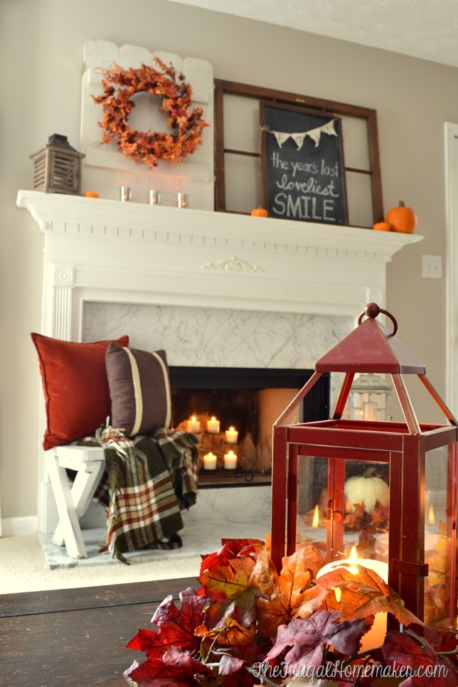 lantern and fall mantel