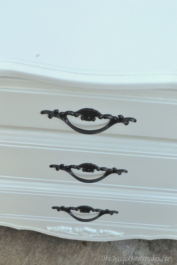 spray painted handles on french provincial nightstand
