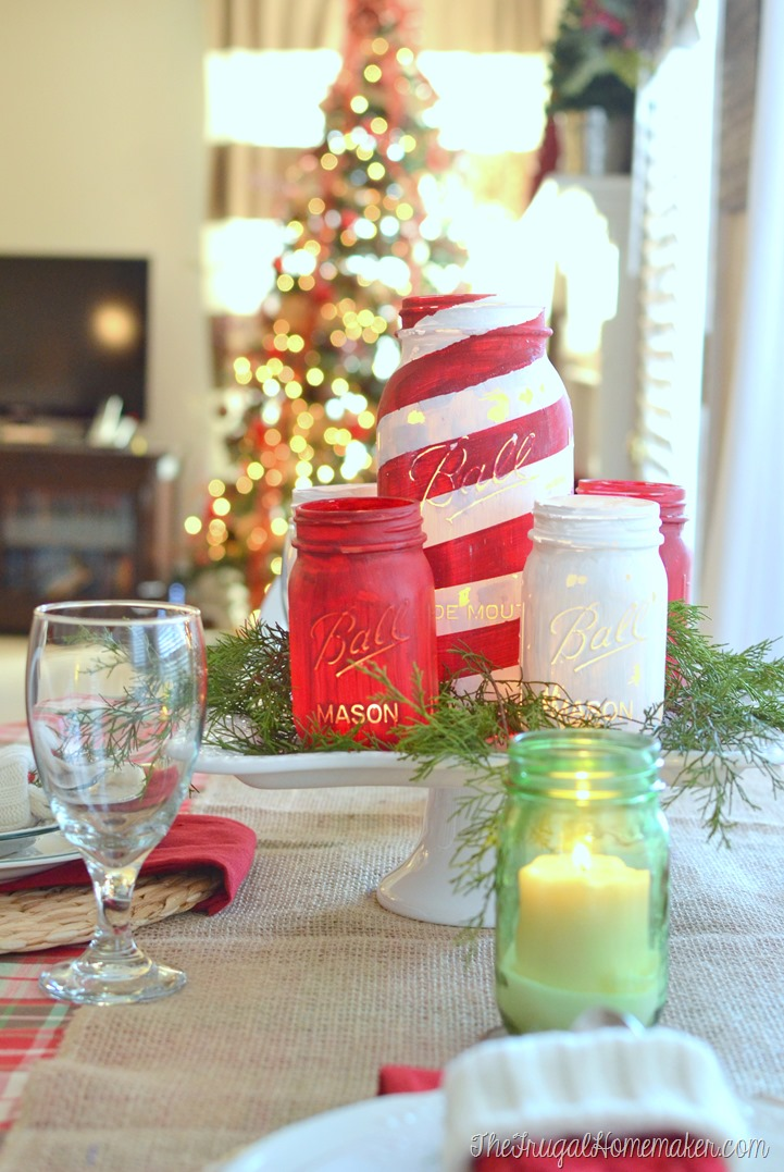 Chalky painted mason jars and christmas tablescape