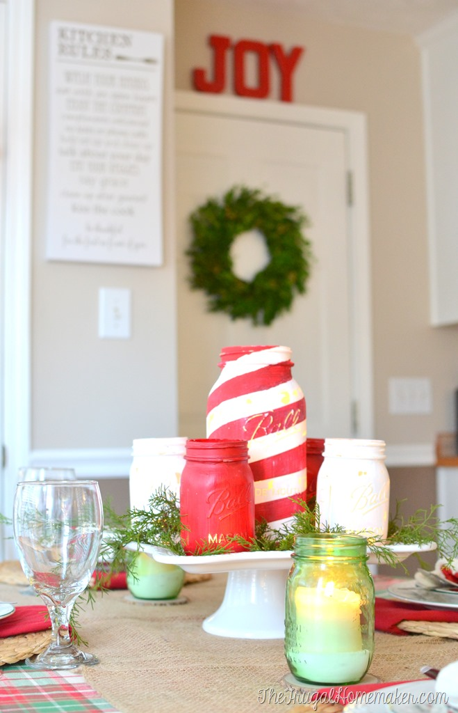 Chalky finish painted mason jars with JOY and wreath on door