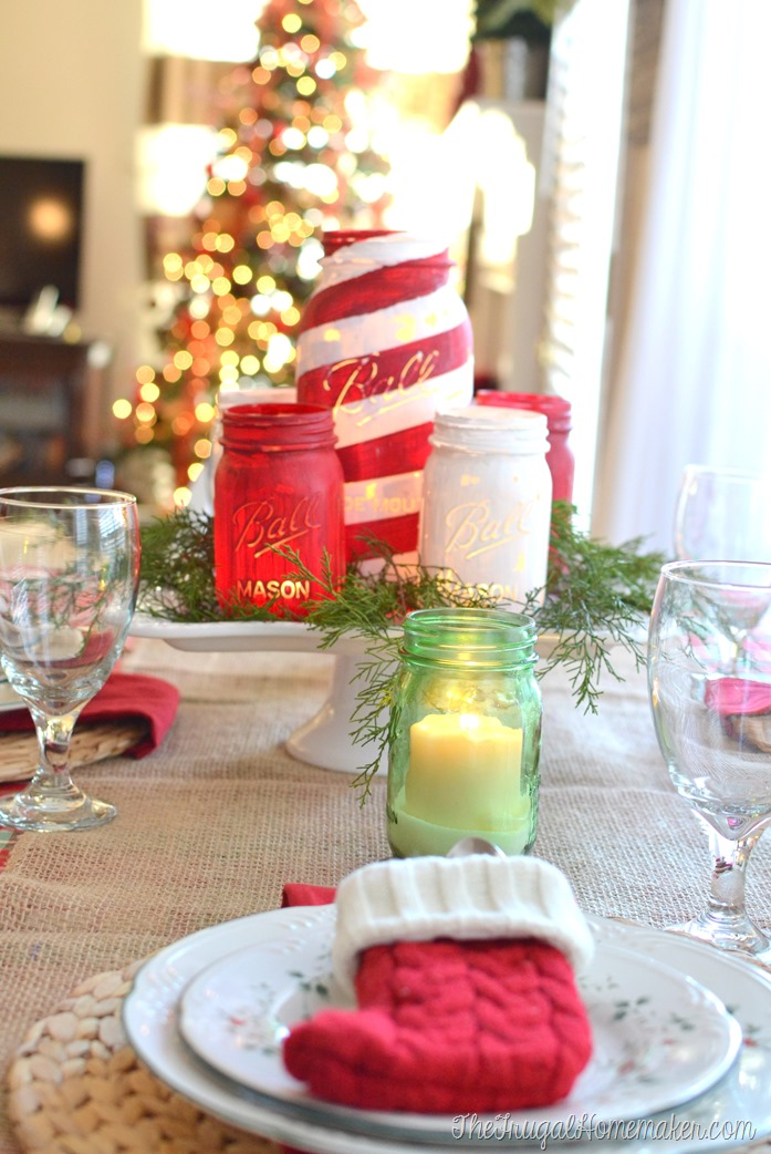 Christmas tablescape and painted mason jars