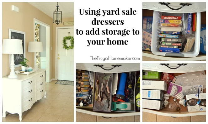 Using yard sale dressers to add storage to your home