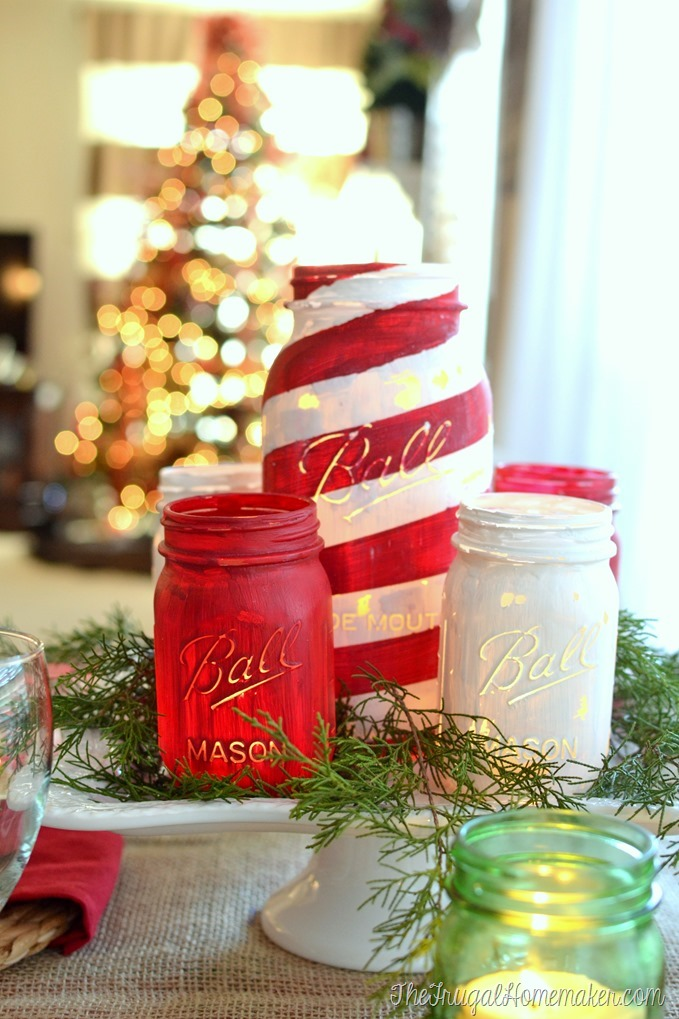 Mason Jar Craft Ideas For Christmas Part - 23: Candy Cane Striped Painted Mason Jar Centerpiece