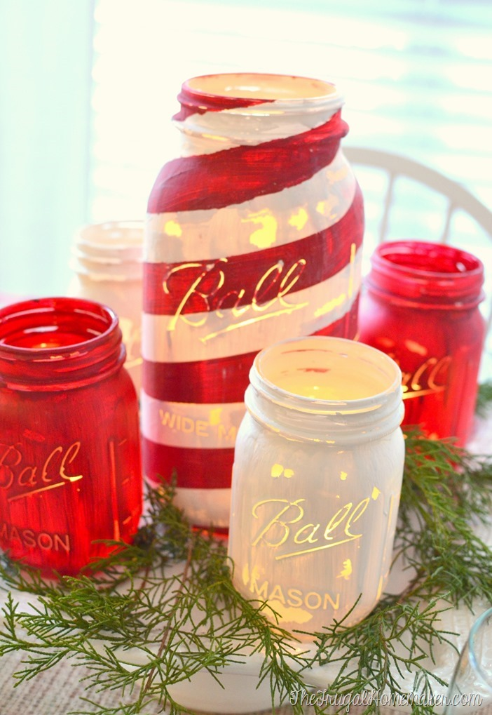 painted mason jar centerpiece on cake plate