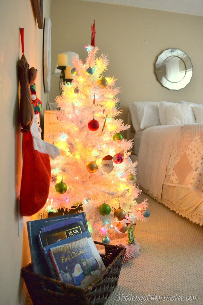 pink and white tree in guest room