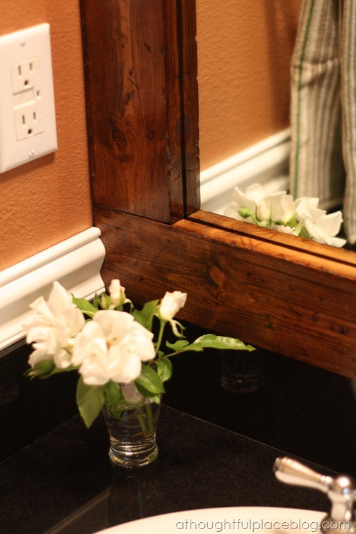 distressed stained wood mirror frame