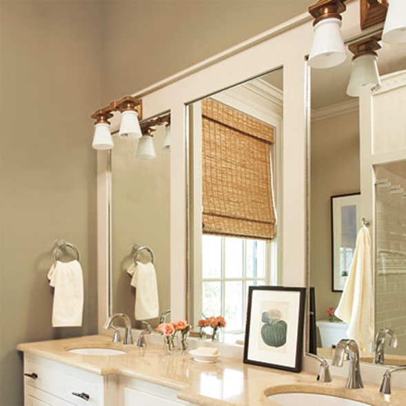 Paneled Overlay On Bathroom Mirror