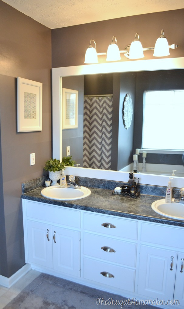 how to frame out that builder basic bathroom mirror for 20 or less - Bathroom Remodel Mirrors