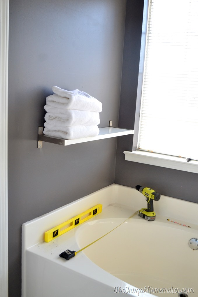 Installing IKEA EKBY shelves in the bathroom