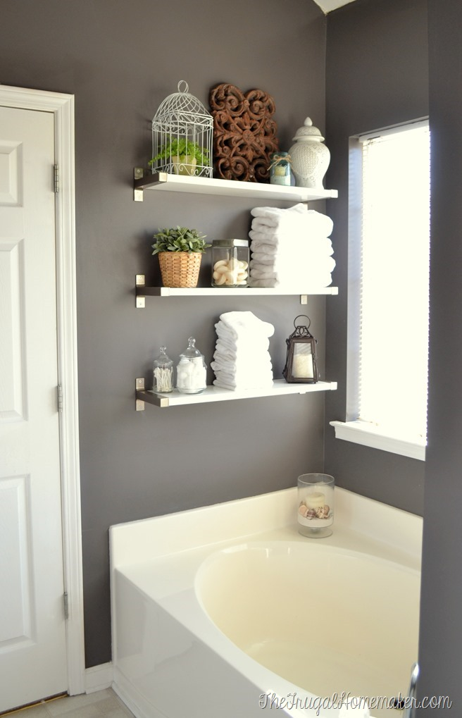 mounted bathroom shelving