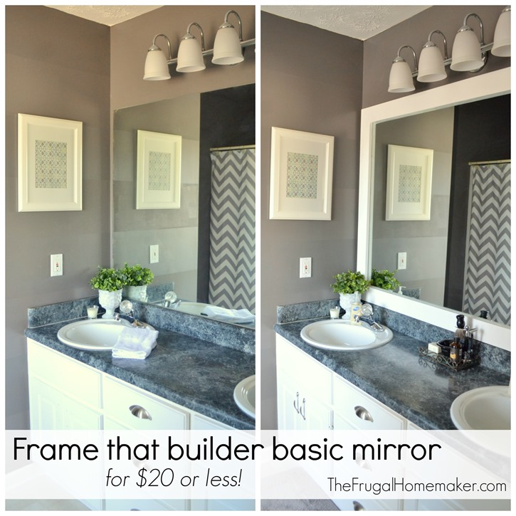 Bathroom Mirror Makeover how to frame out that builder basic bathroom mirror (for $20 or less!)