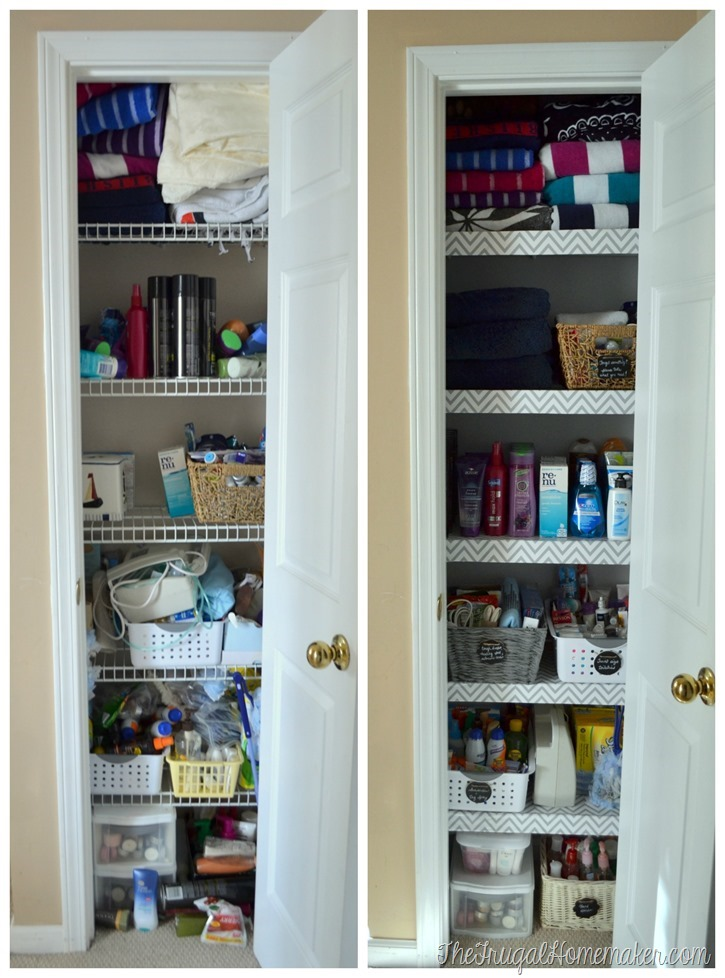 before + after linen closet