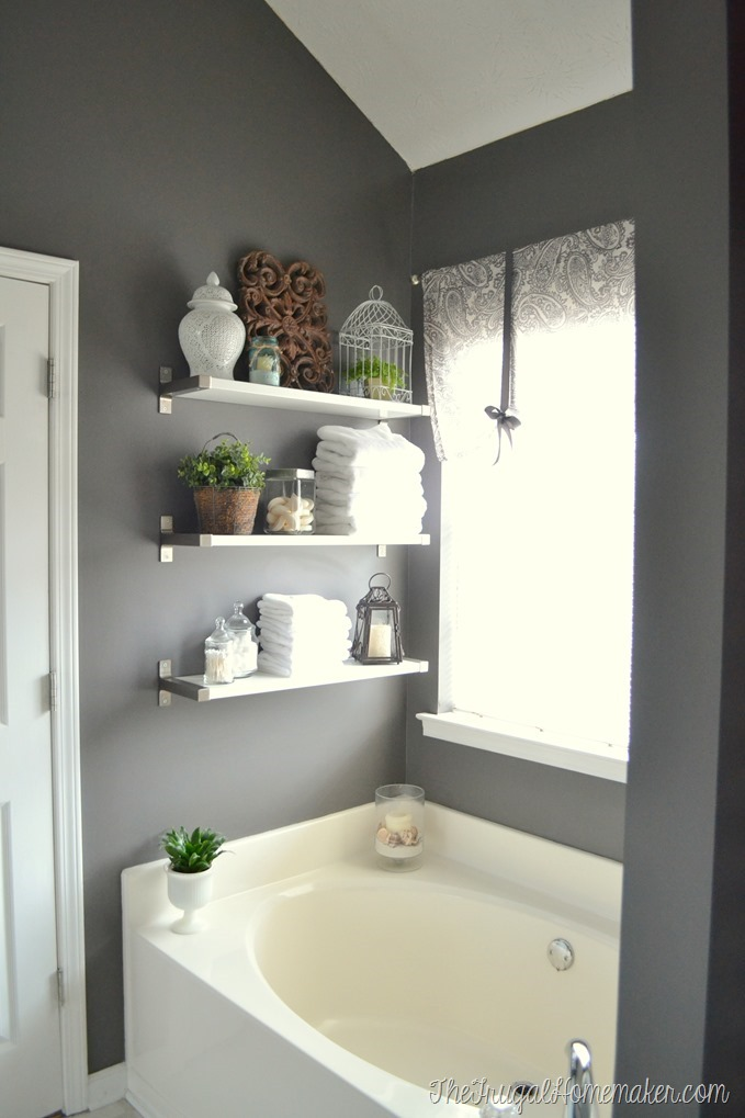 Paint colors in our home for Bathroom shelves design