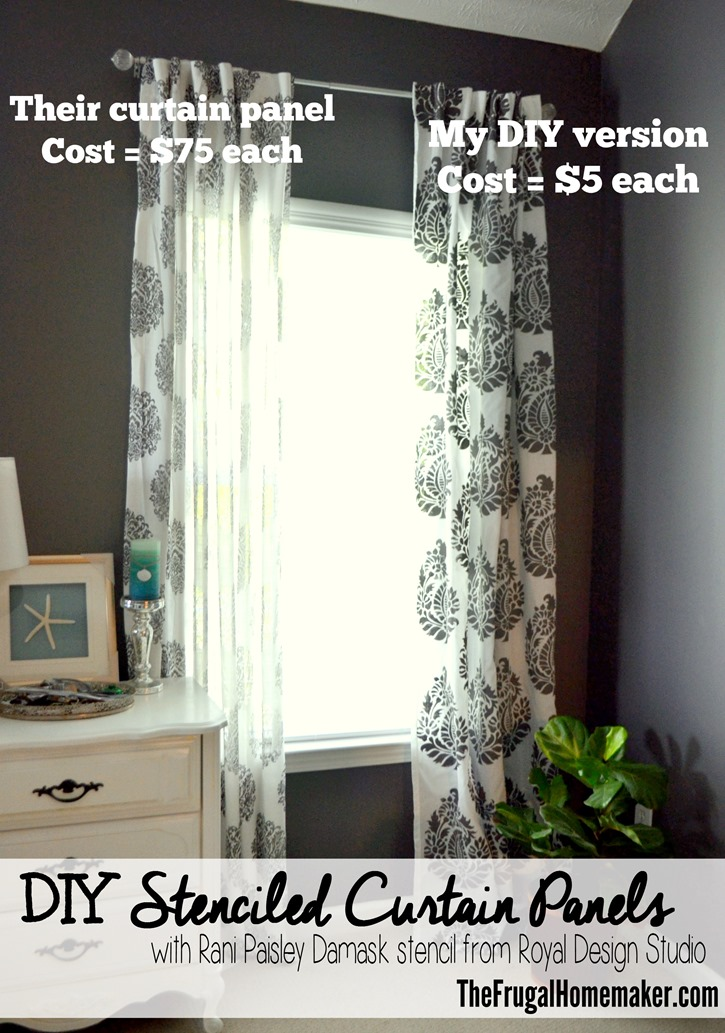 Stenciled curtains in the Master Bedroom