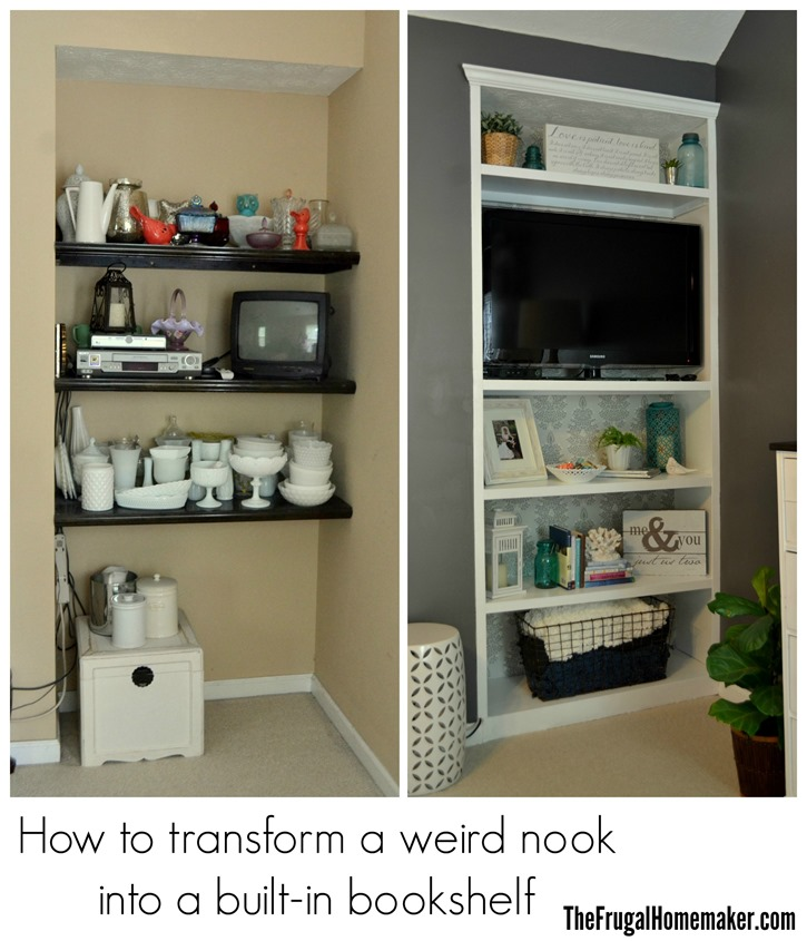 How to Build a Built-in Bookshelf: before & after