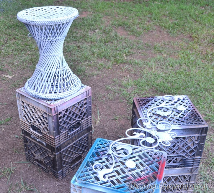 using Rustoleum spray paint to makeover yard sale finds