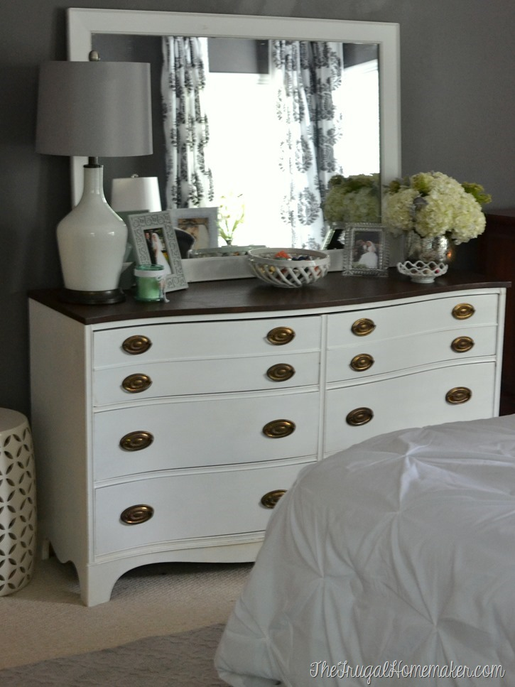 Painted dresser and mirror makeover master bedroom furniture for Master bedroom dresser ideas