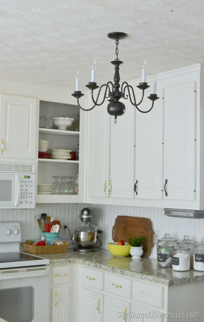 New $4.00 thrift store light fixture in the kitchen (Kitchen Makeover)
