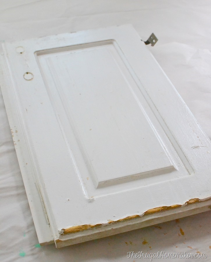 How to re paint your yucky white cabinets for Wood doors painted white