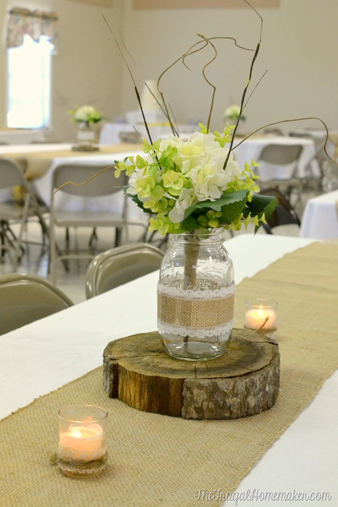 Wood crates to decorate for weddings and parties mason jar centerpiece on top of wood slice on top of burlap runner for wedding junglespirit Gallery