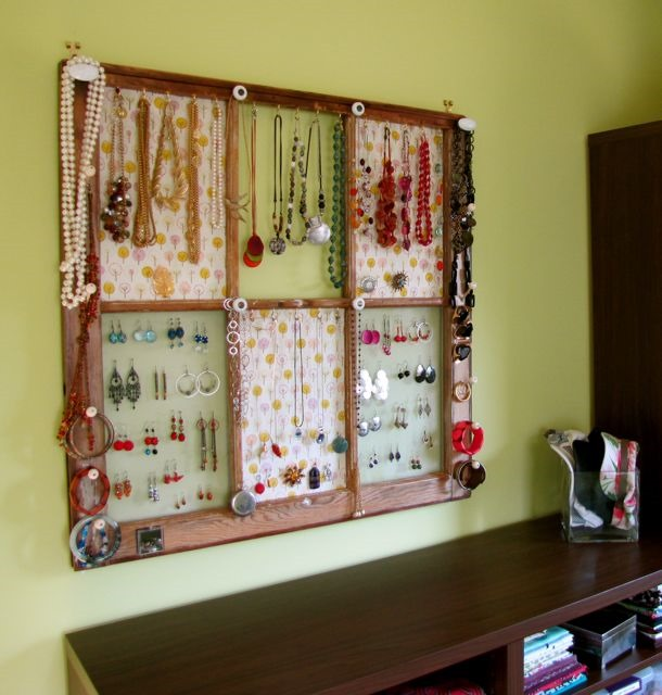 old window frame turned jewelry storage