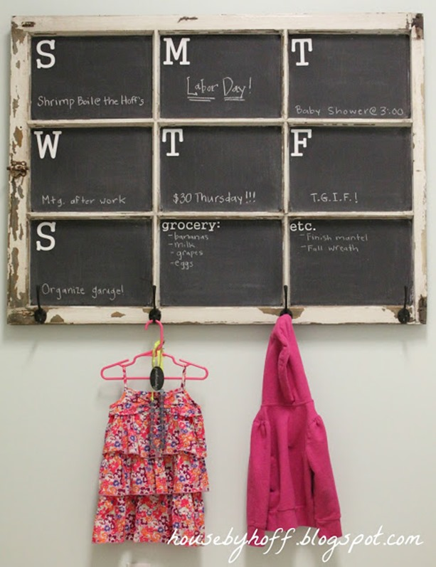 old window turned chalkboard calendar