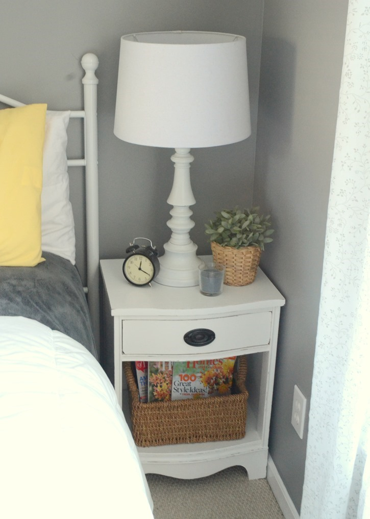 Yard sale nightstand makeover with Behr paint