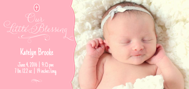 Katelyn birth announcement